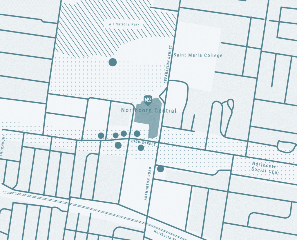northcote central map